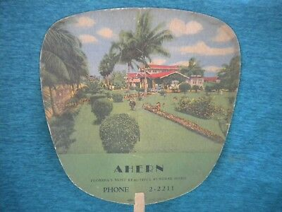 CARDBOARD FAN Old AHERN Florida MOST BEAUTIFUL FUNERAL HOME illustration of Home