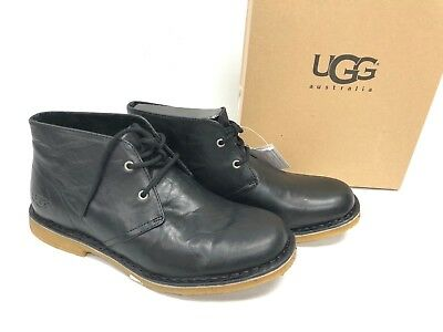 25d36b33c35 UGG AUSTRALIA LEIGHTON Leather Chukka Ankle Desert Lace Boots 3275 Black  Men's
