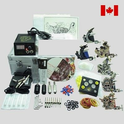 Complete Tattoo Kit 6 Top Machine Gun Power Supply 40 Color Ink 50 Needle