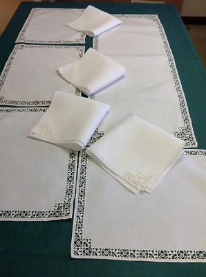 Antique Linen & Reticella Needle Lace Placemats Runner & Napkins