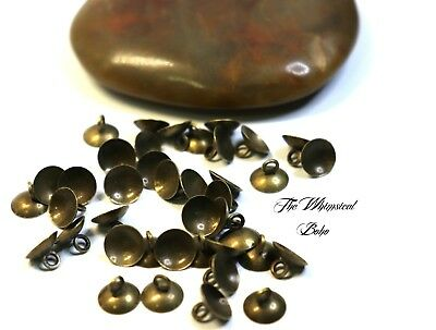 Antiqued Bronze Beads Caps For Jewellery Making x 40