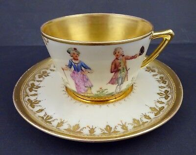 Antique Wehsener Dresden Hand Painted Cup & Saucer, White