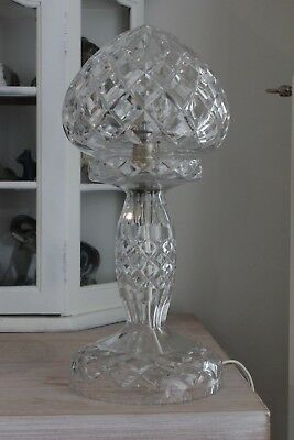 Beautiful~Large~Vintage~Cut~Crystal~Glass~Boudoir~French~Chic~Table~Lamp~Light
