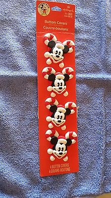 Mickey Mouse Santa Claus, Candy Cane Button Covers - Hallmark - 4 Covers