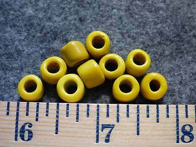 (10) Crow Indian Yellow Padre Glass Trade Beads Fur Trade Era 1700's