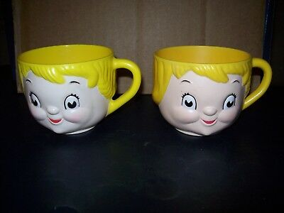 Vintage Campbell's Soup Kids Plastic Cup Lot Of 2 Yellow 1970's Great Condition
