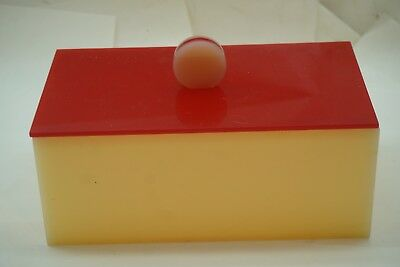 Vintage Lucite Box And Lid Vanity Jewelry Trinket Red Butter Yellow Mcm Art Deco