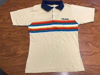 Mens Vintage 70's Jeep Car Dealer Salesman Polo Collared Paper Thin Shirt Small