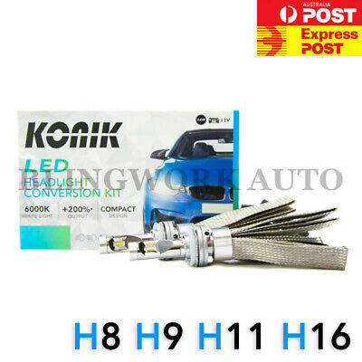 KONIK LED H8 H9 H11 H16 +200% 6000K Headlight Kit for Ford Ranger PX2 Wildtrak