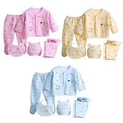 5Pcs Newborn Infant Cotton Monk Shirt Pants Baby Boys Girl Outfits Clothes 0-3M
