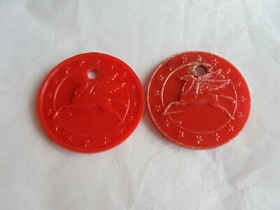 Lot of 2 Vintage Mobil Gas and Oil Plastic Advertising Pegasus Keychain Fobs