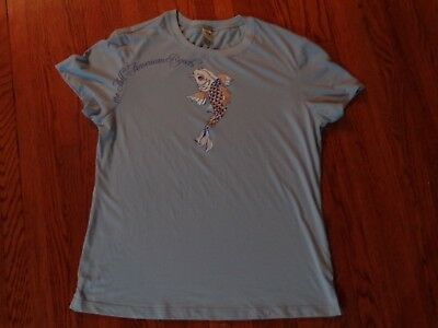 NWOT ALl American Rejects Woman's tee t-shirt top L pale blue shirt fish