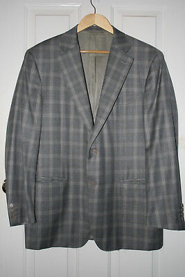 Sharp 44R Canali Gray Check 100% Pure Wool Blazer Made in Italy