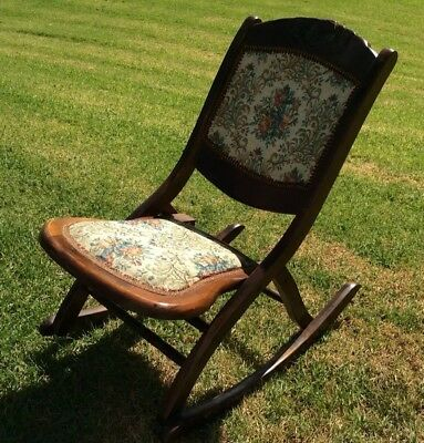 Vintage Wood Tapestry Rocking Chair Fold up Great Condition Reservoir