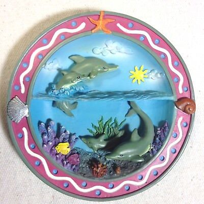 Dolphins at play small plate divided scene sea sky tropical fish coral 3D ocean