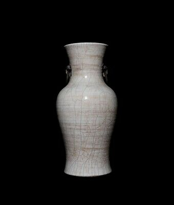 Marvelous Rare Old Antique Chinese Two Kylin Handles White Porcelain Vase FA938