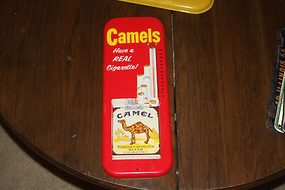 Vintage Camels Real Cigarette Tin Sign Thermometer Tobacco Have A Real Cigarette