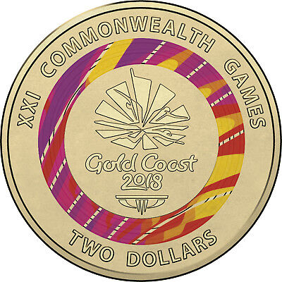 Australian Two Dollar $2 coin - 2018 XXI Commonwealth Games - uncirculated RED