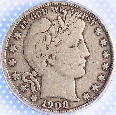 1908 D Barber Half, Pcgs Vf20, Sharp Detail, Great Color, Problem Free Classic!