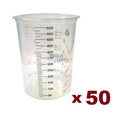 50 x PLASTIC PAINT MIXING CUPS CALIBRATED 600ML - SPRAY PAINTING MEASURING PA...