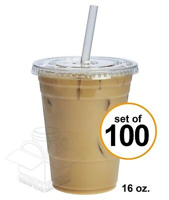 100 Sets 16 oz Plastic CRYSTAL CLEAR Cups with Flat Lids Cold Drinks Iced Coffee