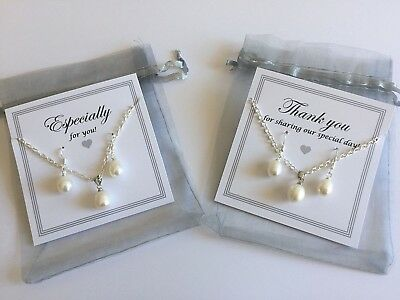 Freshwater Pearl Necklace Earring Set Gift Thank You Bridesmaid