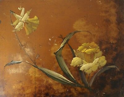 Charming Original Antique Flower Floral Oil Painting  On  Wooden Panel