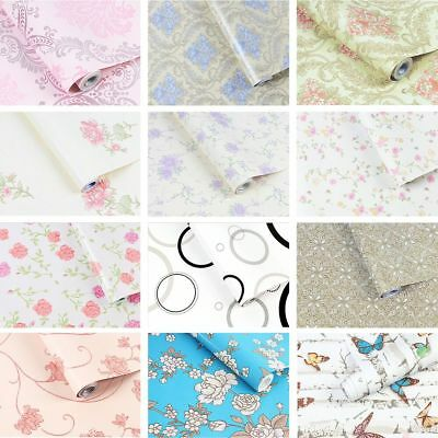 10M Floral Wallpaper Vinyl Metallic Glitter-Flowers Butterfly Bloom Blossom Pink