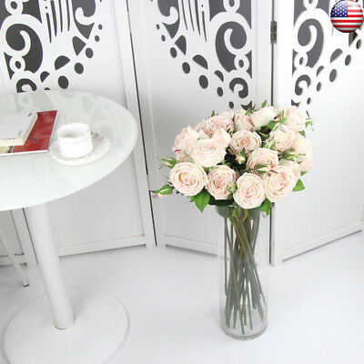 Artificial Rose Bouquet Real Touch Silk Flower Leaf  Home Floral Wedding Decor