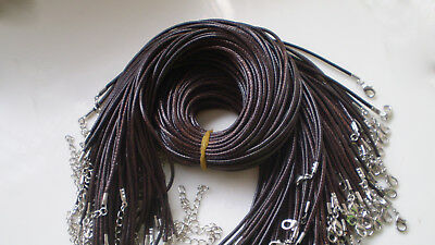 Wholesale Bulk Lot 2mm 10pcs 20 inch brown PU Leather String Necklace Cord