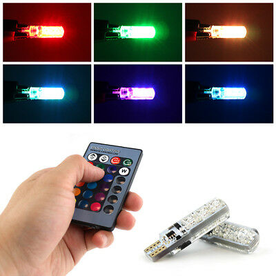 Pair 12V T10 Car Remote Colorful LED Light Bulb Lamp Wedge Side Accessorise