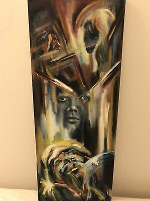 SALE artifact museum painting original Signed Artwork Expressive Oil on Canvas