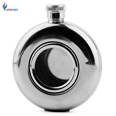 Stainless Steel Sliver Round 5oz  Hip Flask with Glass Portable Alcohol Bottle