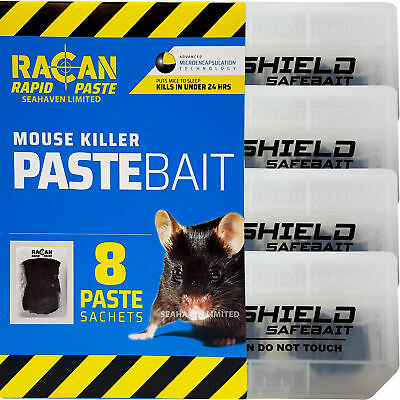 Racan 8 Alphachloralose Mouse Poison Bait Sachets & 4 Tamper Proof Mice Boxes