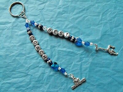 Personalised hand-made Dance, Gymnastics. Name. Bag tag, keyring. Any Colours.
