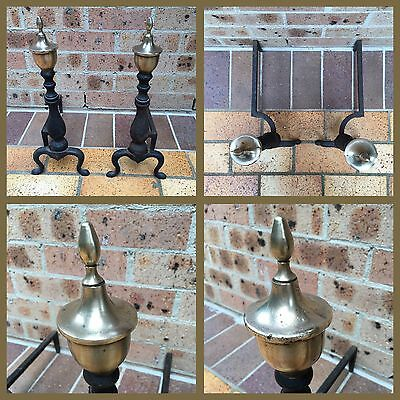 Vintage Fire Dogs / Andirons - Cast Iron And Brass.