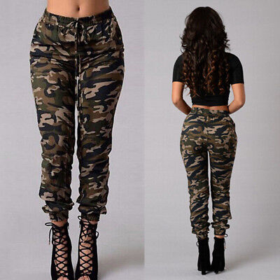 AU Women Camouflage Pants Camo Casual Cargo Joggers Military Army Harem Trousers