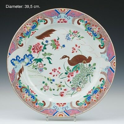 Nice large Chinese Famille rose porcelain charger, goose, 18th century.