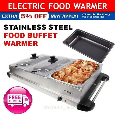 Electric Buffet Food Warmer Stainless Steel Large 3x2L Trays Bain Marie Function