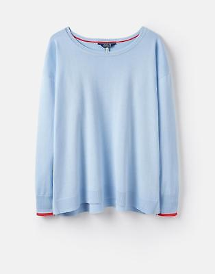 Joules 124602 Womens Lightweight Jumper with Curved Hem in Skyblue