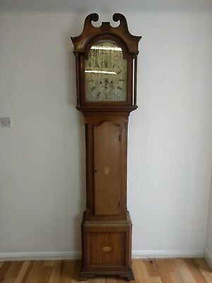 Georgian Mahogany Brass Face Longcase Clock Scottish David Hill Balfron