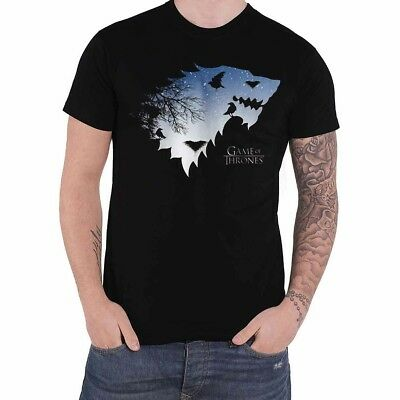 OFFICIAL Game of Thrones House Stark of Winterfell Black Mens T-Shirt Top (NEW)