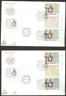 Vatican City Sc# 685-6: Virgil vertical Pair with Tab on 2 FDC