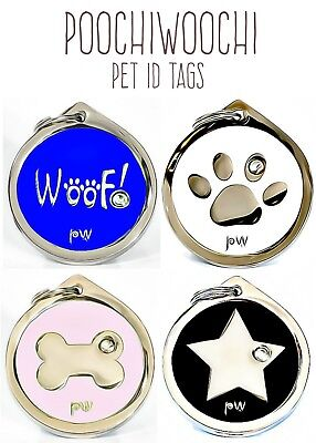 Quality Personalized Engraved Pet Diamante Dog Cat ID Collar Tags Discs FREE P&P