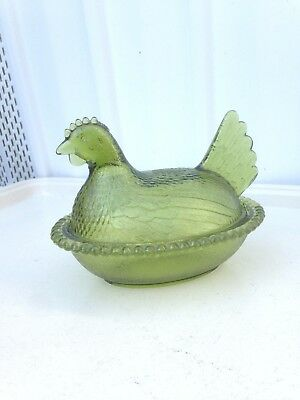Vintage Glass Hen on Nest Green Covered Dish Candy Container Kitchen