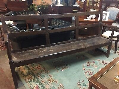 Antique Oak Bench / Settle  Elements Of Earlier Pieces Pre1800 Design