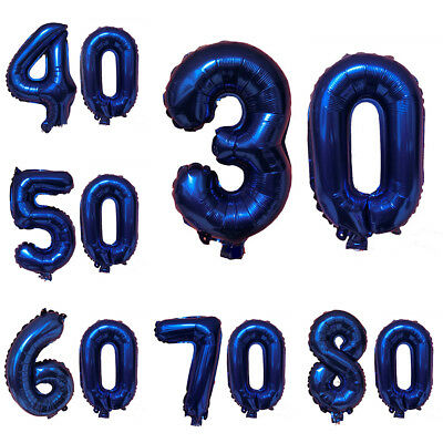 "16"" Number Foil Balloons Birthday Wedding Party Decor Gold Silver Blue Pink"