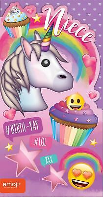 Emoji Unicorn Niece Birthday Card Cupcakes Hearts Stars Rainbow New Gift