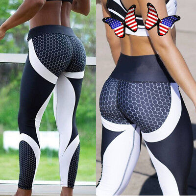 Womens Yoga Workout Gym Leggings Fitness Running Sports Pants Stretch Trouser UD