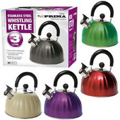 3 Litre Prima Stainless Steel Whistling Kettle - Gas Home Camping Caravan Light